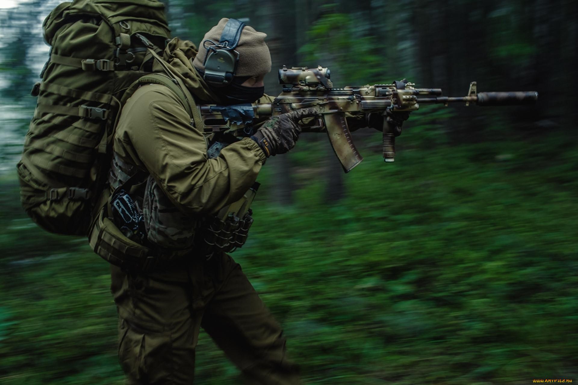 Оружие армия спецназ рюкзак лес